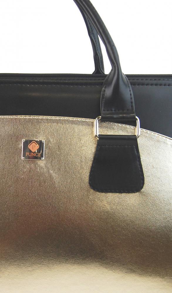 PUNCE LC-01 Zlatá dámska kabelka pre notebook do 15.6 palca
