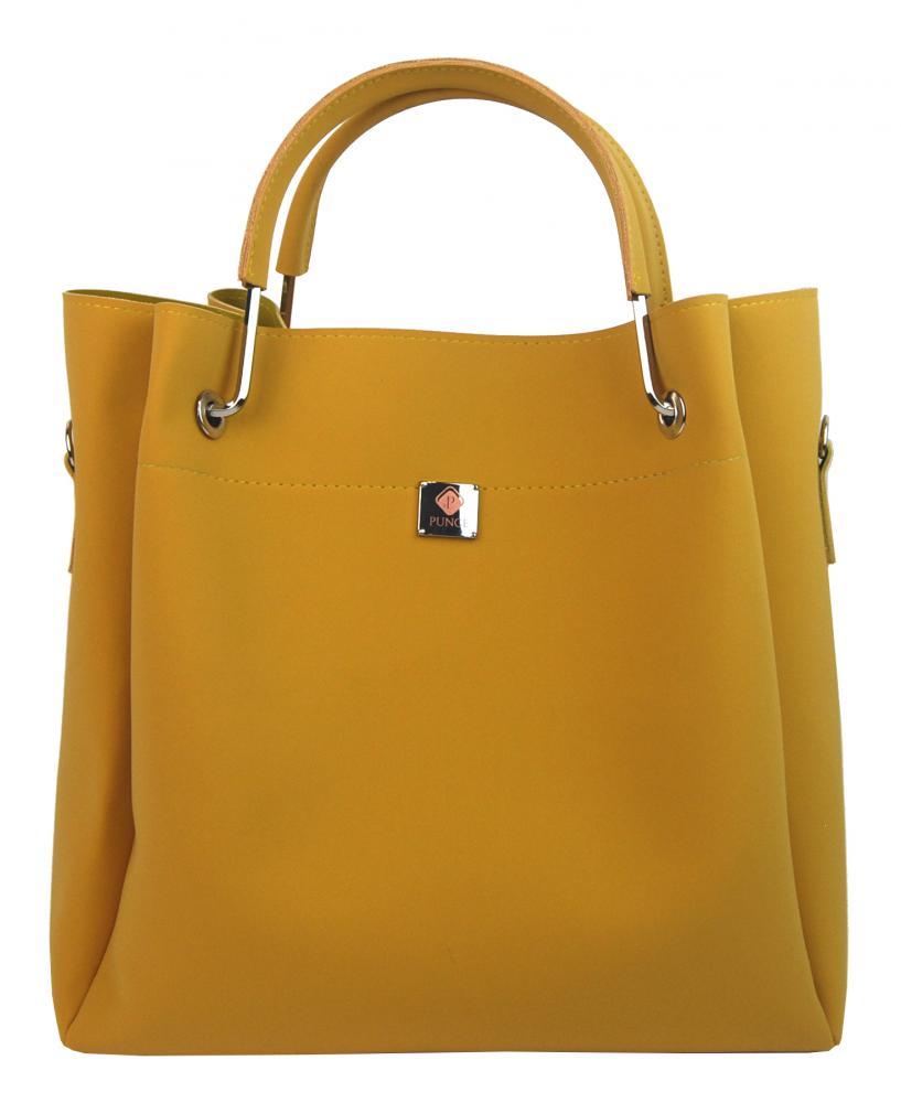 PUNCE Hořčicová žlutá elegantní dámská kabelka LB-02