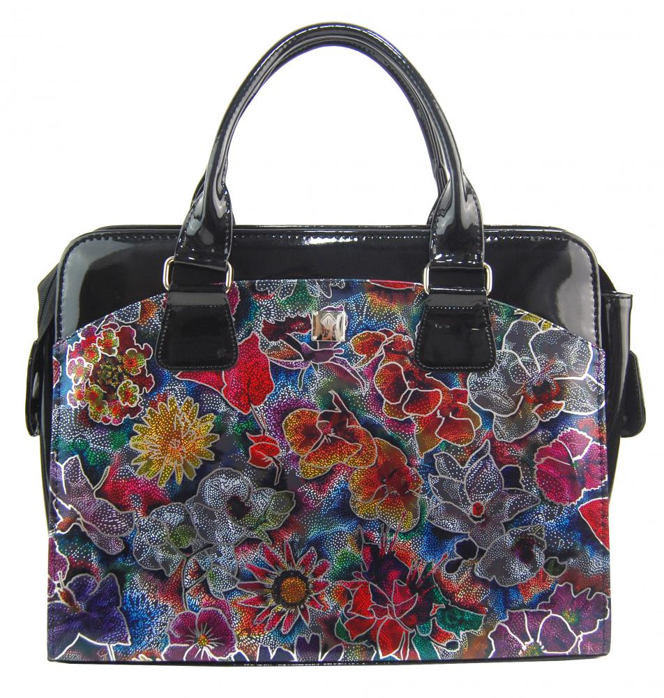 PUNCE LC-01 luxusná čierna dámska kabelka so striebornými kvietky pre notebook do 15.6 palca