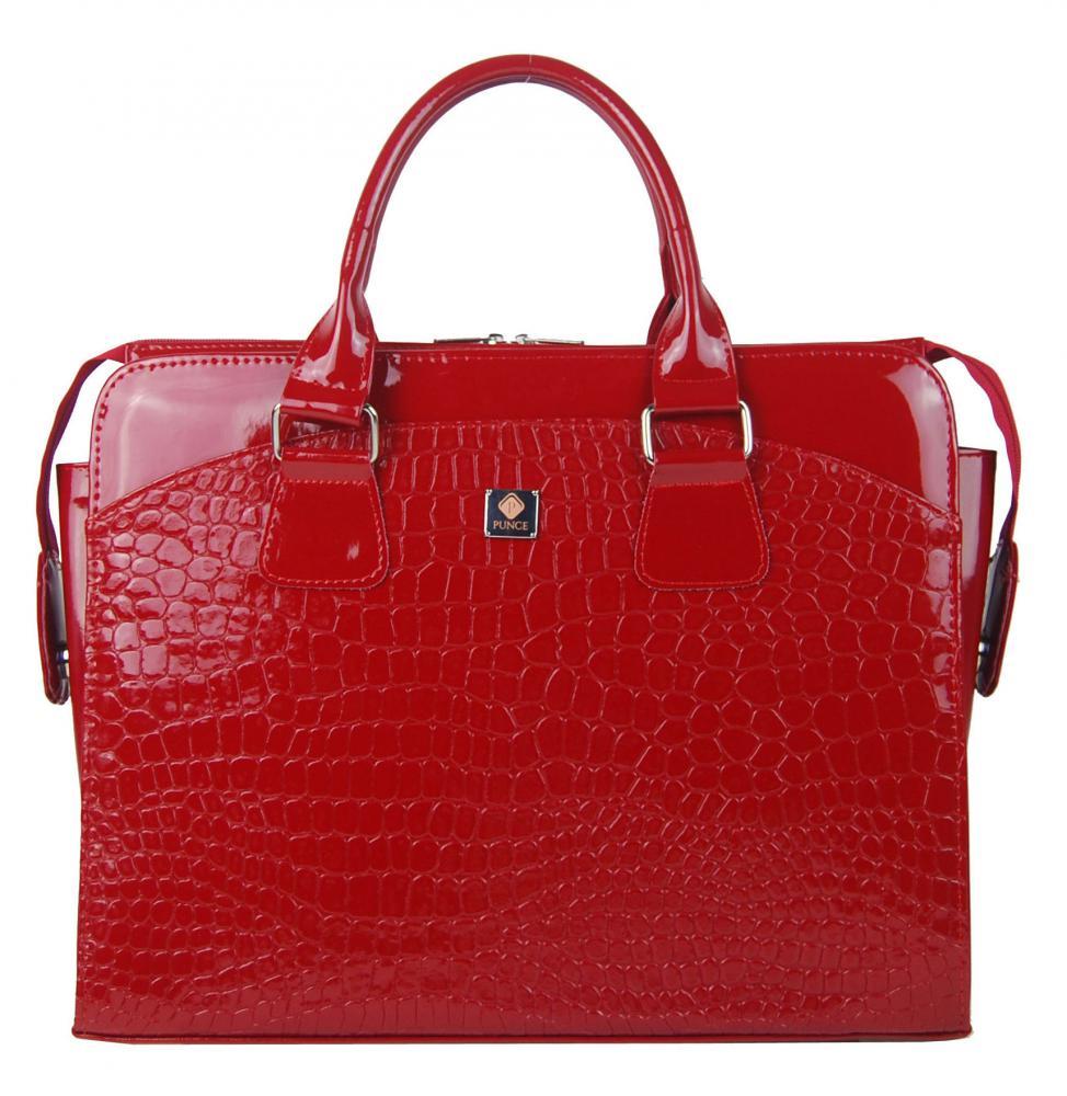 PUNCE LC-01 červená dámska kabelka pre notebook do 15.6 palca