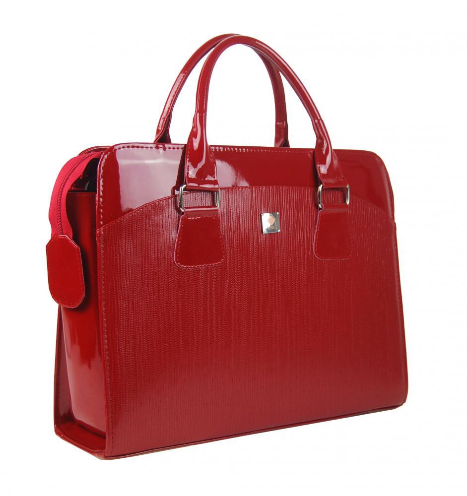 PUNCE LC-01 červená ryhovaná dámska kabelka pre notebook do 15.6 palca
