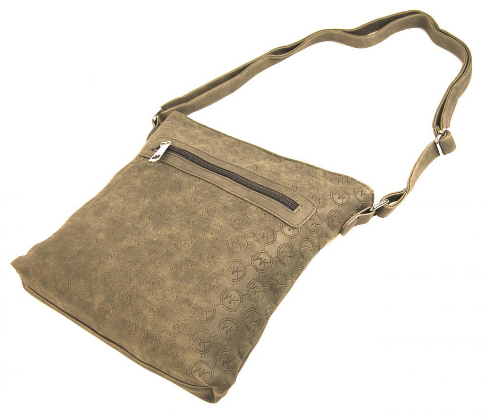 Dámska crossbody kabelka s razením R820 piesková hnedá