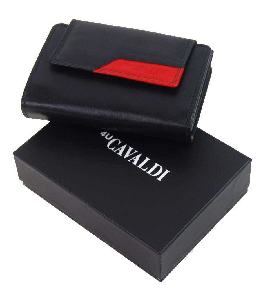 Čierno-červená dámska kožená peňaženka v krabičke Cavaldi