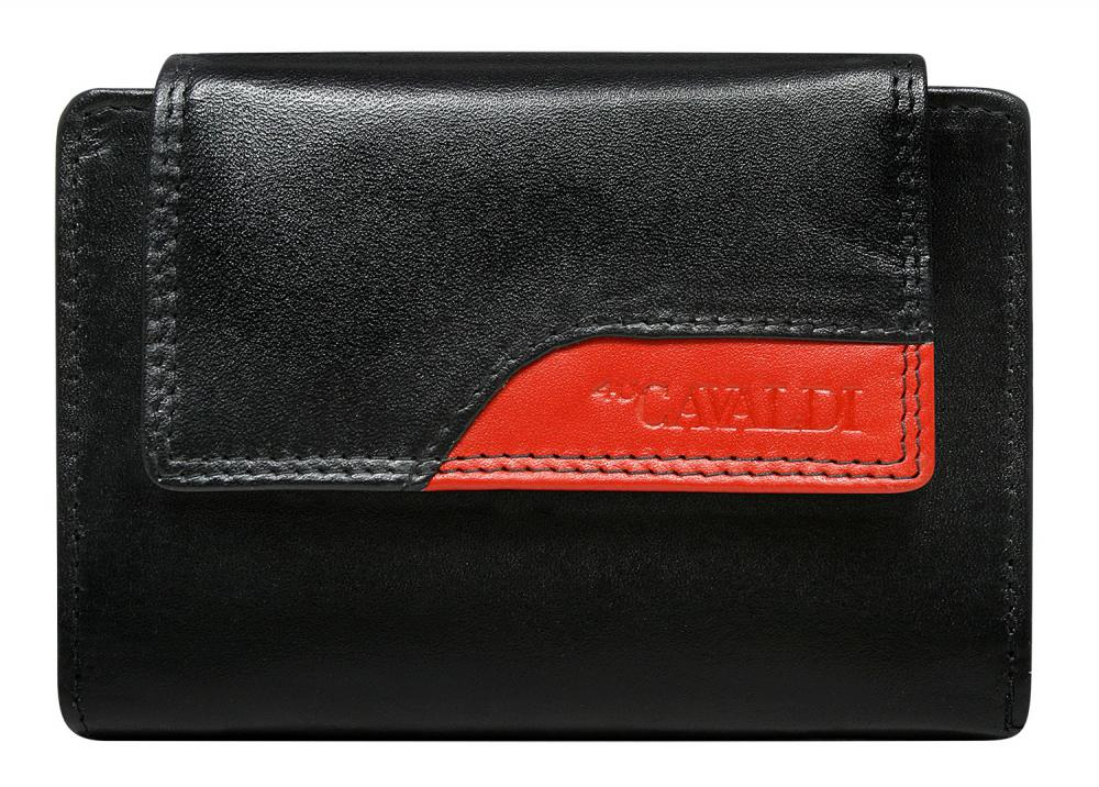 CAVALDI Kožená peněženka dámská černo-červená