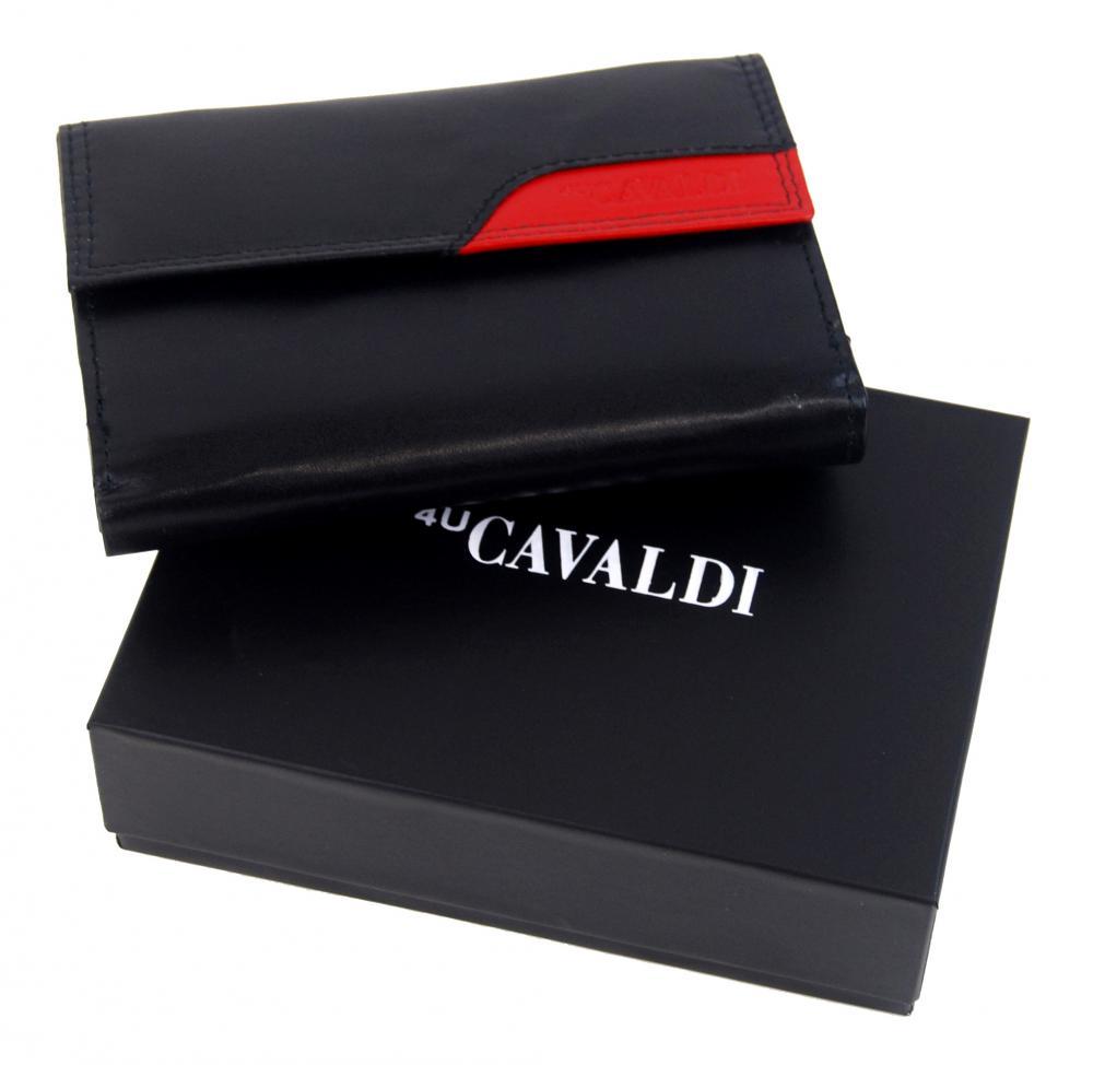 Černo-červená dámská kožená peněženka v krabičce Cavaldi