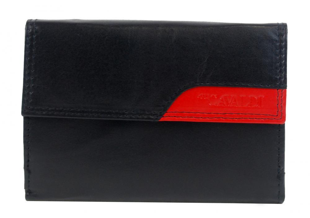 CAVALDI Kožená peněženka dámská černá s červeným detailem