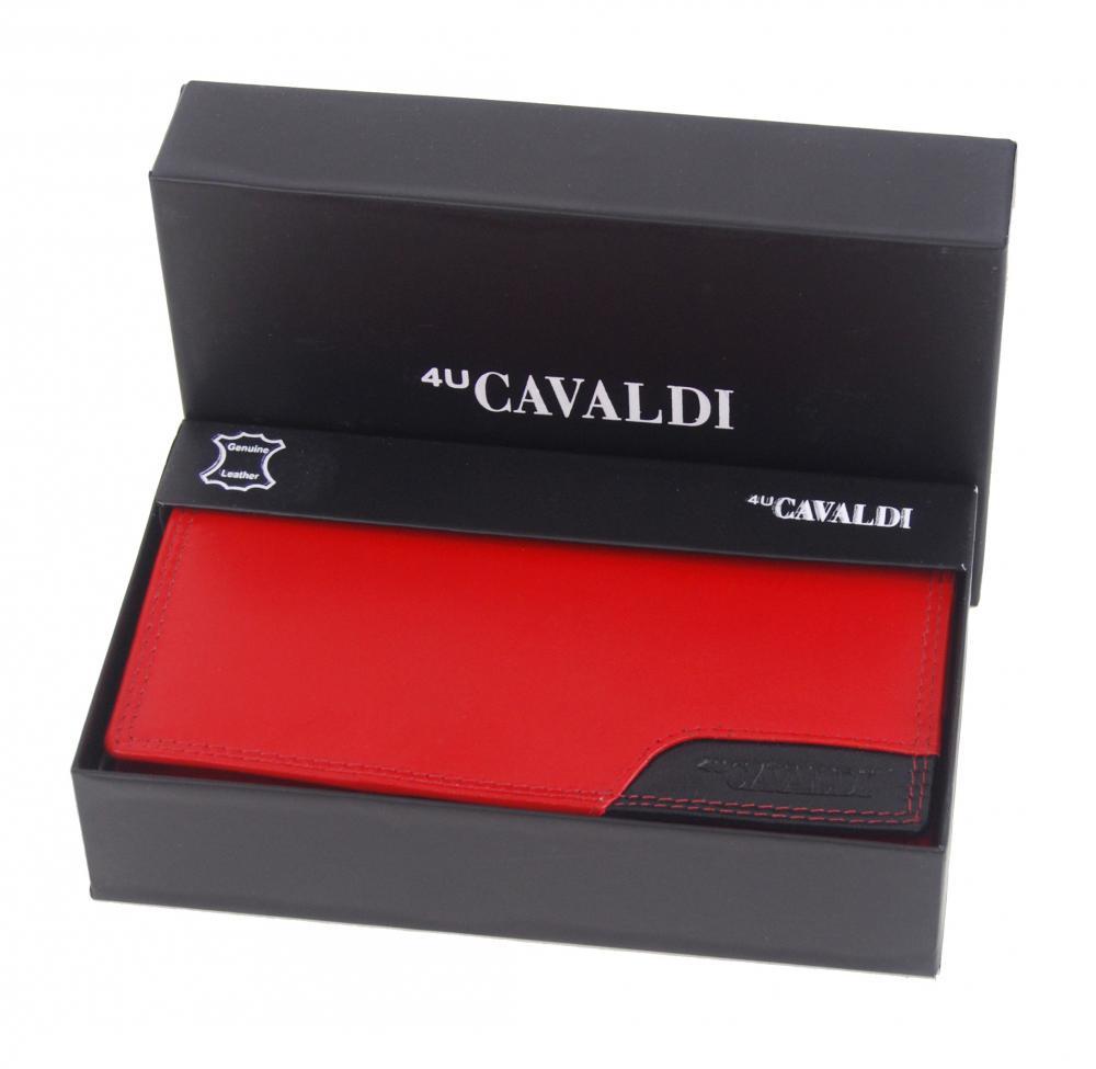 Červeno-čierna dámska kožená peňaženka v krabičke Cavaldi