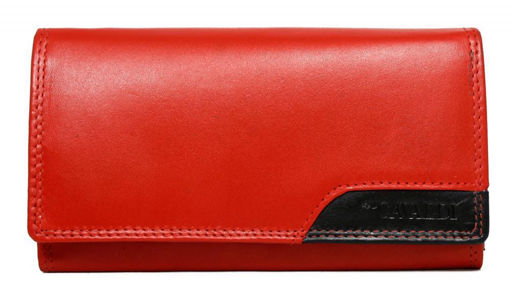 Červeno-černá dámská kožená peněženka v krabičce Cavaldi