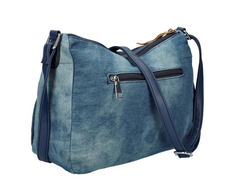 Stredno modrá riflová dámska crossbody kabelka