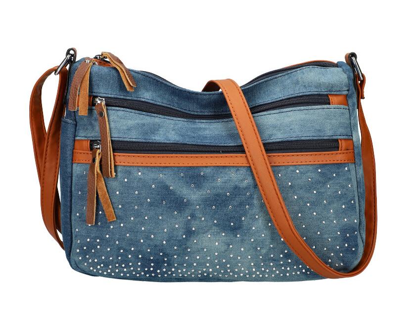 Stredno modrá riflová dámska crossbody kabelka s hnedými doplnkami