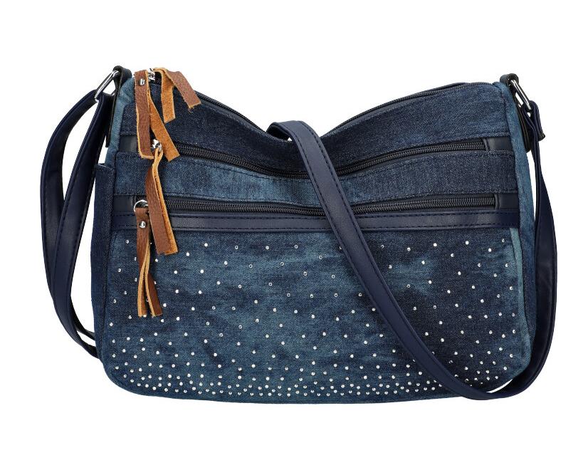 Tmavo modrá riflová dámska crossbody kabelka