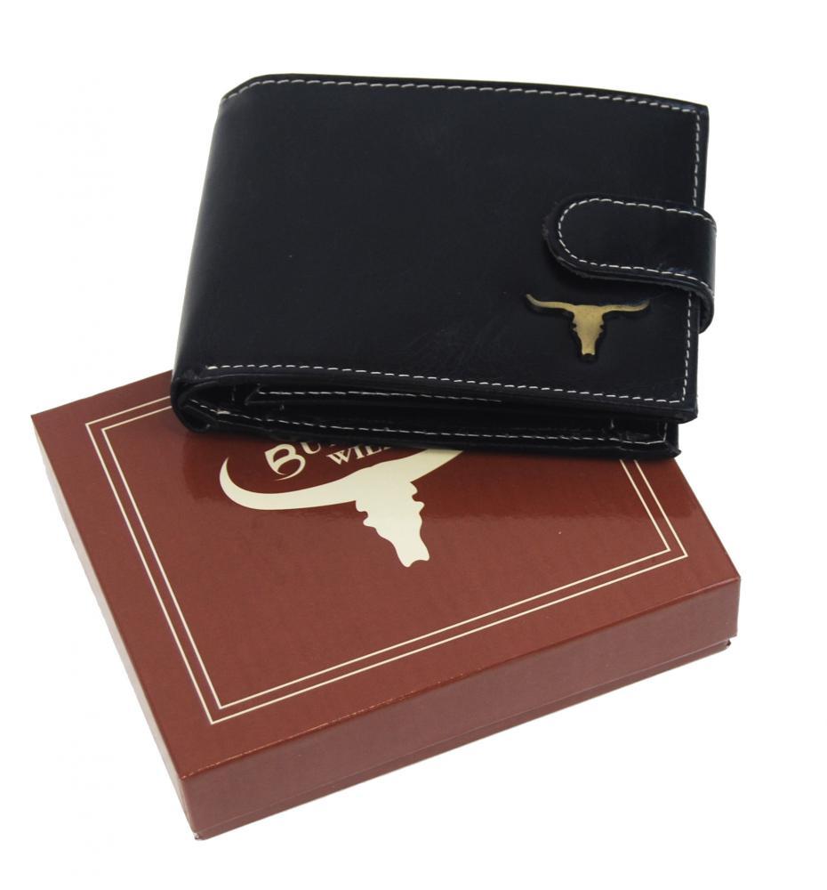 Čierna pánska kožená peňaženka RFID v krabičke WILD