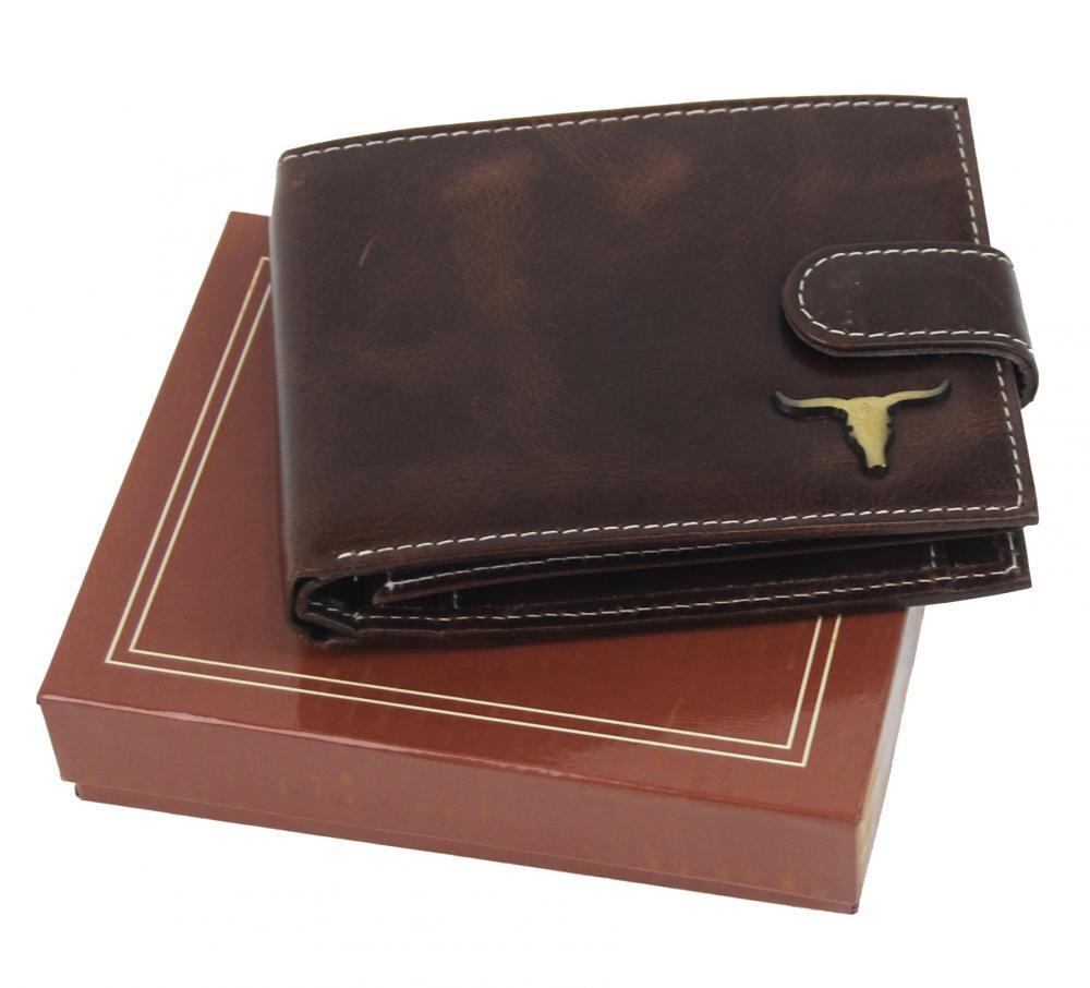 Hnědá pánská kožená peněženka RFID v krabičce WILD