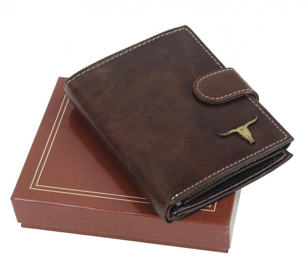 Hnedá pánska kožená peňaženka RFID v krabičke WILD