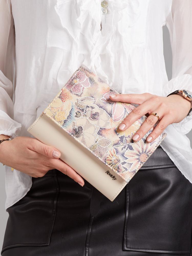 Béžová lakovaná dámska listová kabelka v motíve kvetín W49 ROVICKY