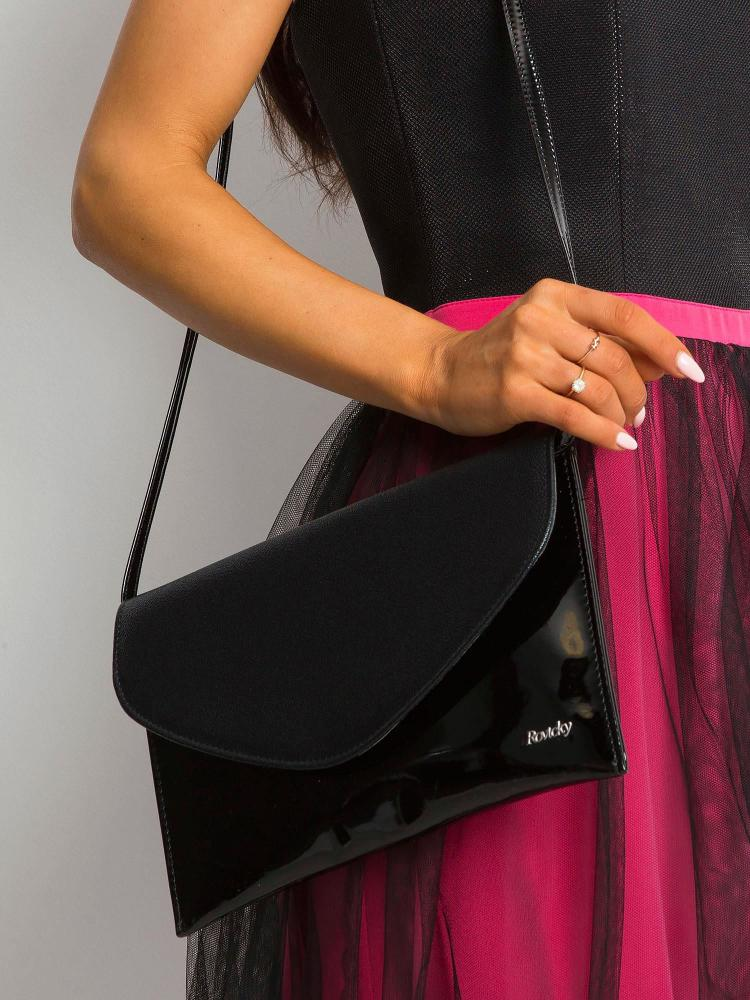 Čierna lakovaná dámska listová kabelka W64 ROVICKY