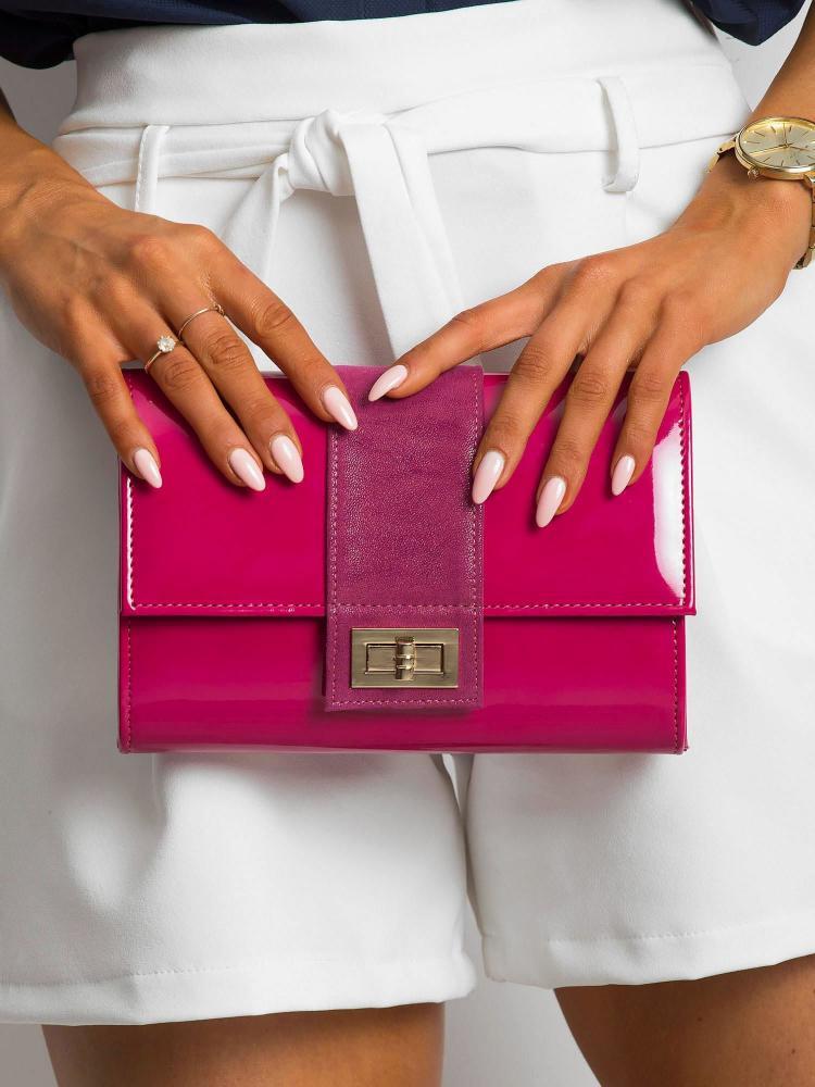 Fuchsiová lakovaná dámska listová kabelka W66 ROVICKY