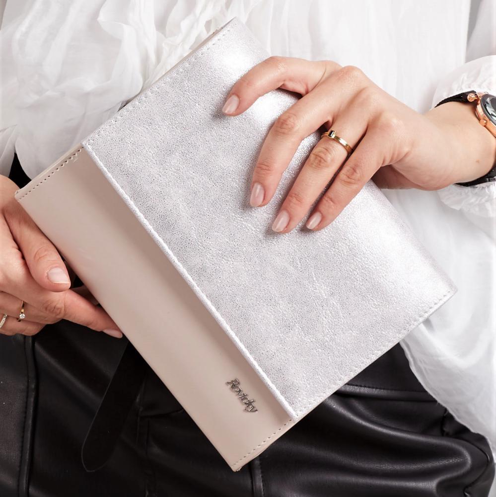 Pudrovo-strieborná dámska listová kabelka W49 ROVICKY