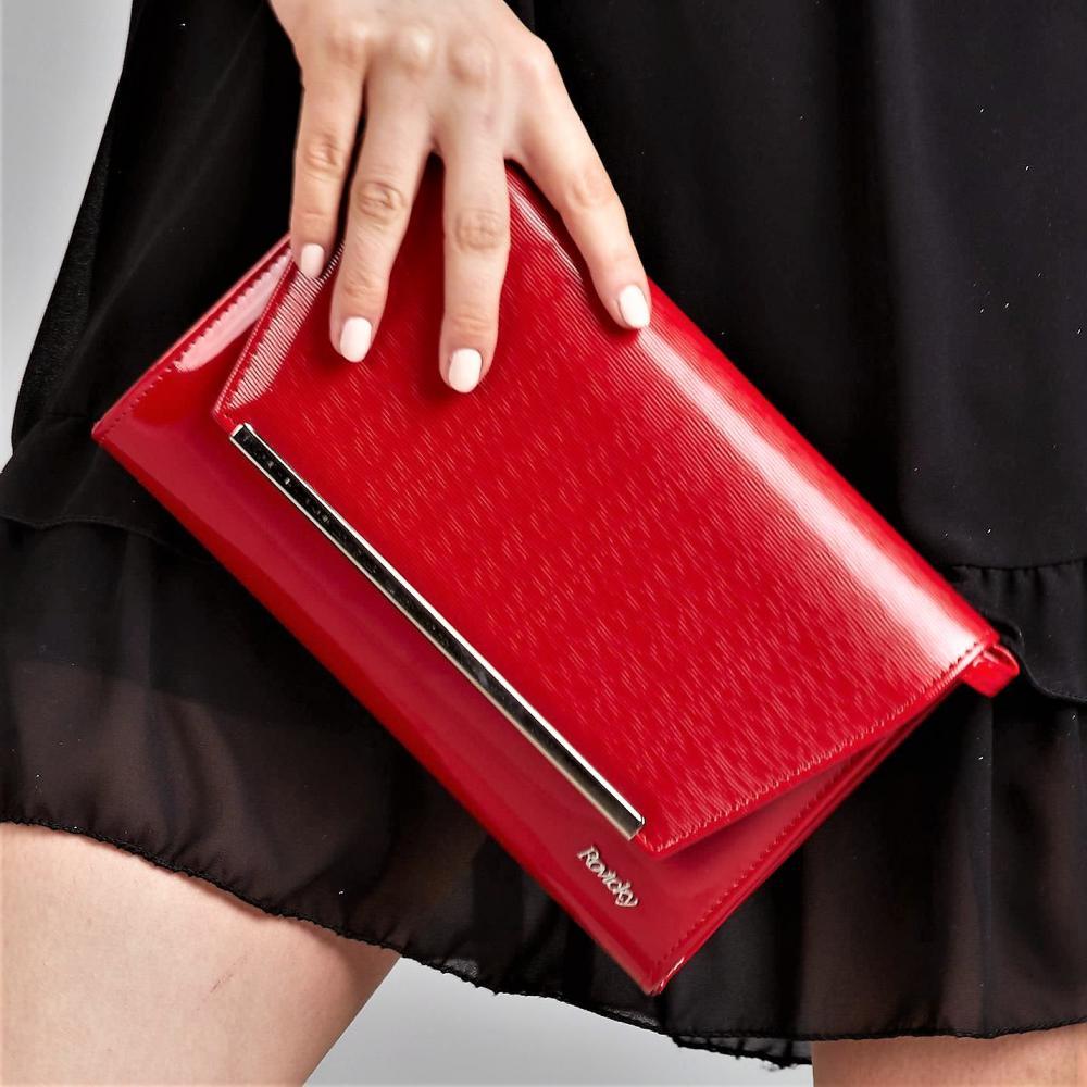 Červené luxusní dámské lakované psaníčko W52 ROVICKY
