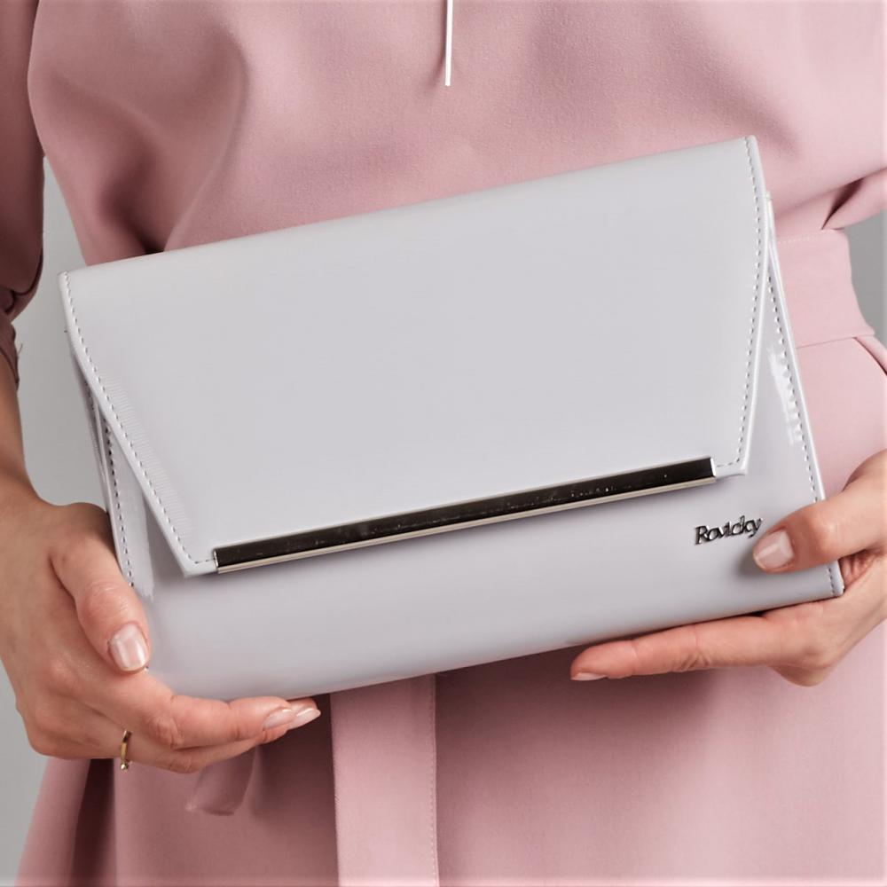 Šedá lakovaná luxusná dámska listová kabelka W52 ROVICKY