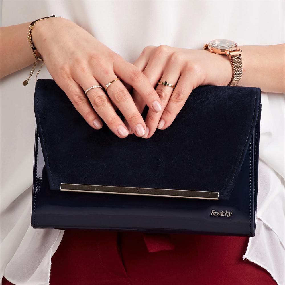 Modrá lakovaná luxusná dámska listová kabelka so semišom W52 ROVICKY
