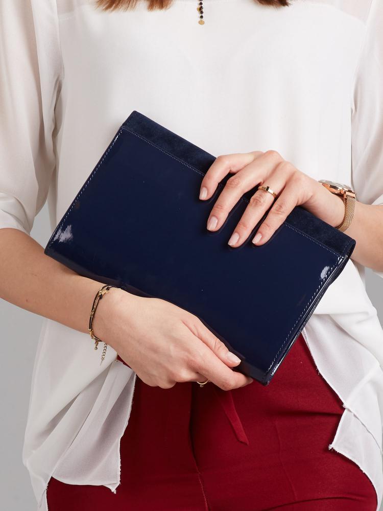 Modré lakované luxusní dámské psaníčko se semišem W52 ROVICKY