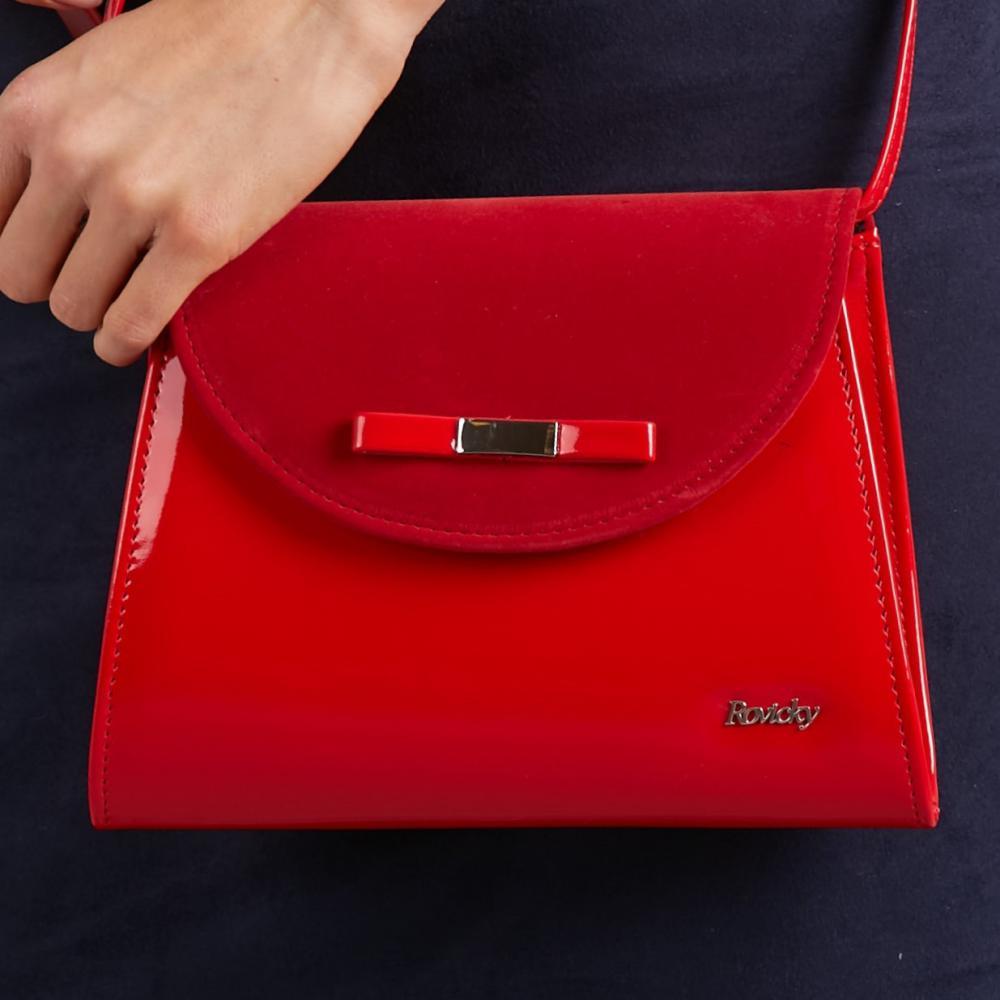 Červená dámska listová / crossbody kabelka W54 ROVICKY