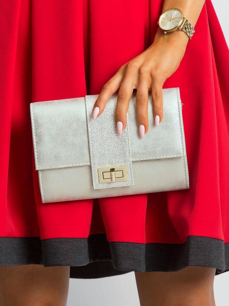 Strieborná dámska listová kabelka so zlatým nádychom W66 ROVICKY