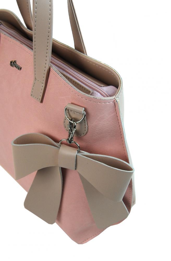 Růžová dámská kabelka s mašlí S739 GROSSO