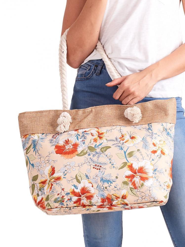 CAVALDI Plážová taška růžová s motivem květin