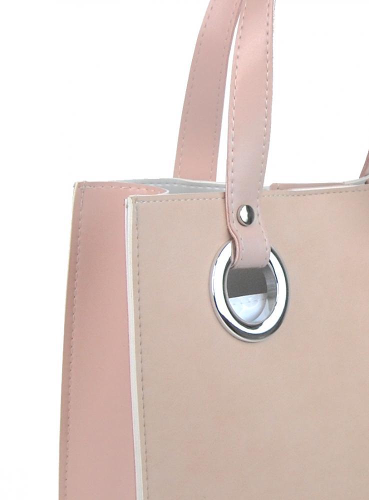 Pudrová moderní obdélníková dámská kabelka S752 GROSSO