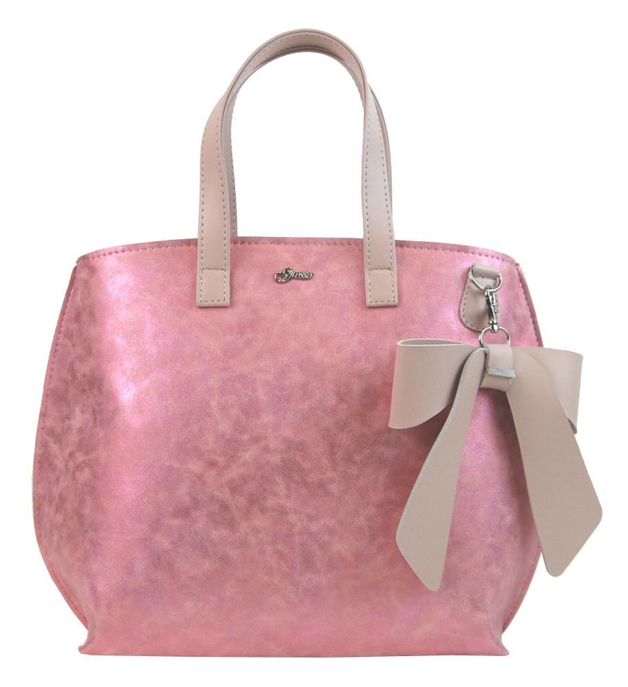 GROSSO Dámská kabelka třpytivě růžová s mašlí S739
