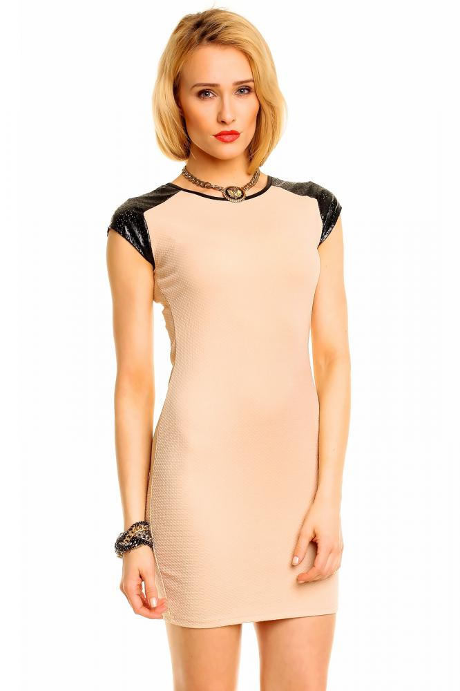 Dámske šaty Flam Mode béžovo-čierne, M