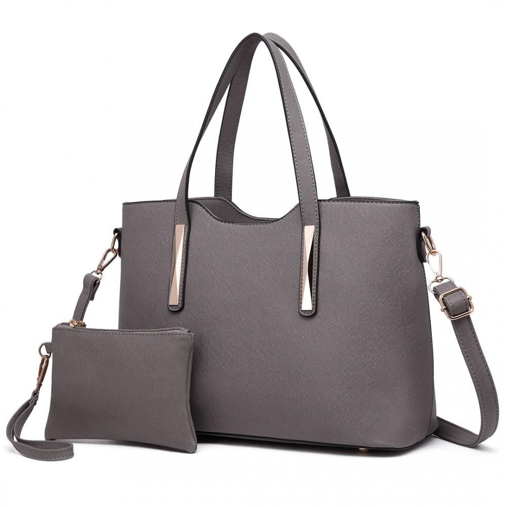 Praktický dámsky kabelkový set 2v1 Miss Lulu sivá