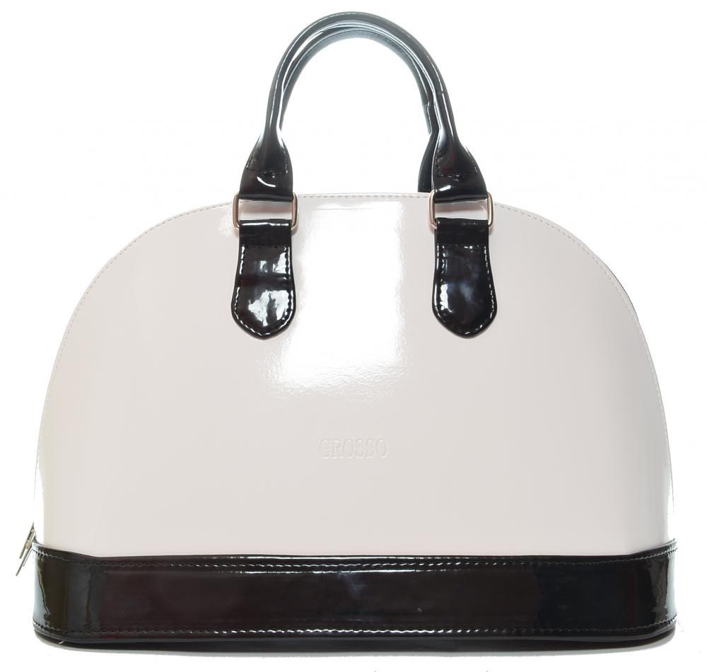 Luxusní kabelka do ruky bílo-černý lak S24 GROSSO