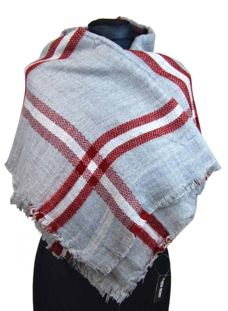 NEW BERRY dámsky pletený šál / pléd BC717 svetlo sivá