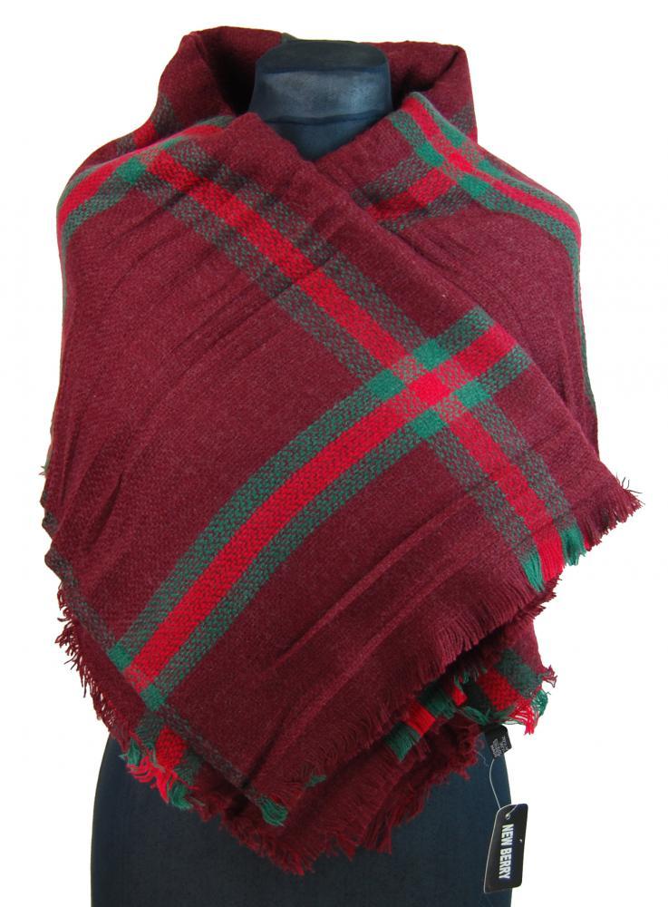 NEW BERRY dámská pletená šála / pléd BC717 červeno-hnědá