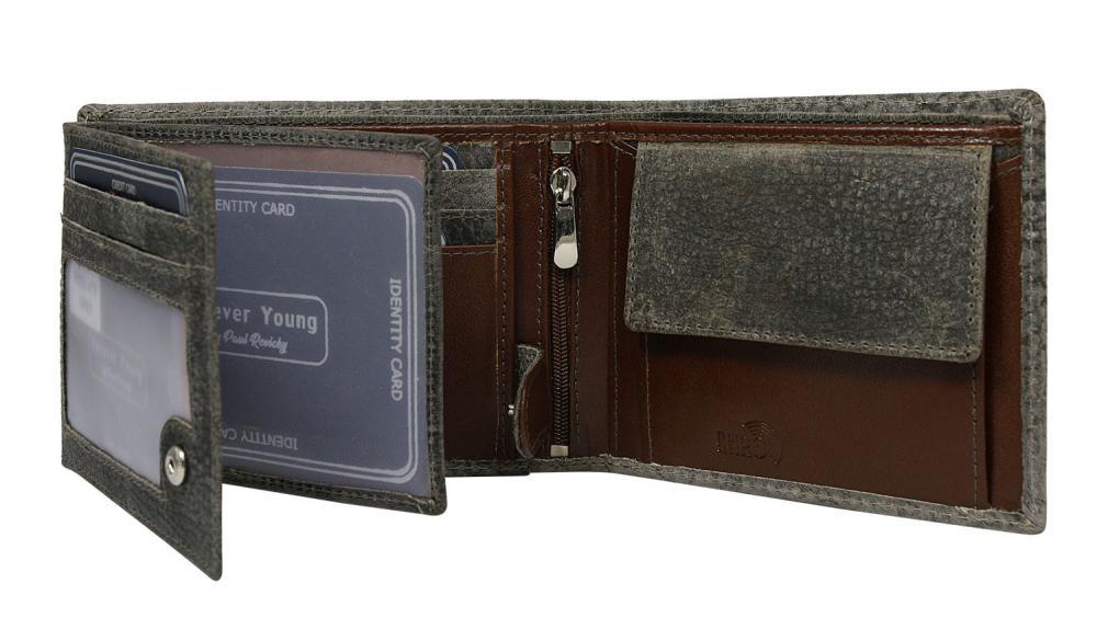 Šedá pánska kožená peňaženka v krabičke RFID Forever Young