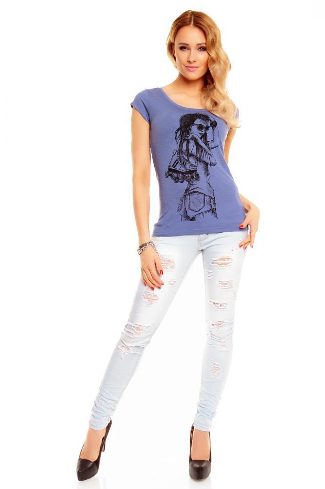 Dámské modré tričko s potiskem