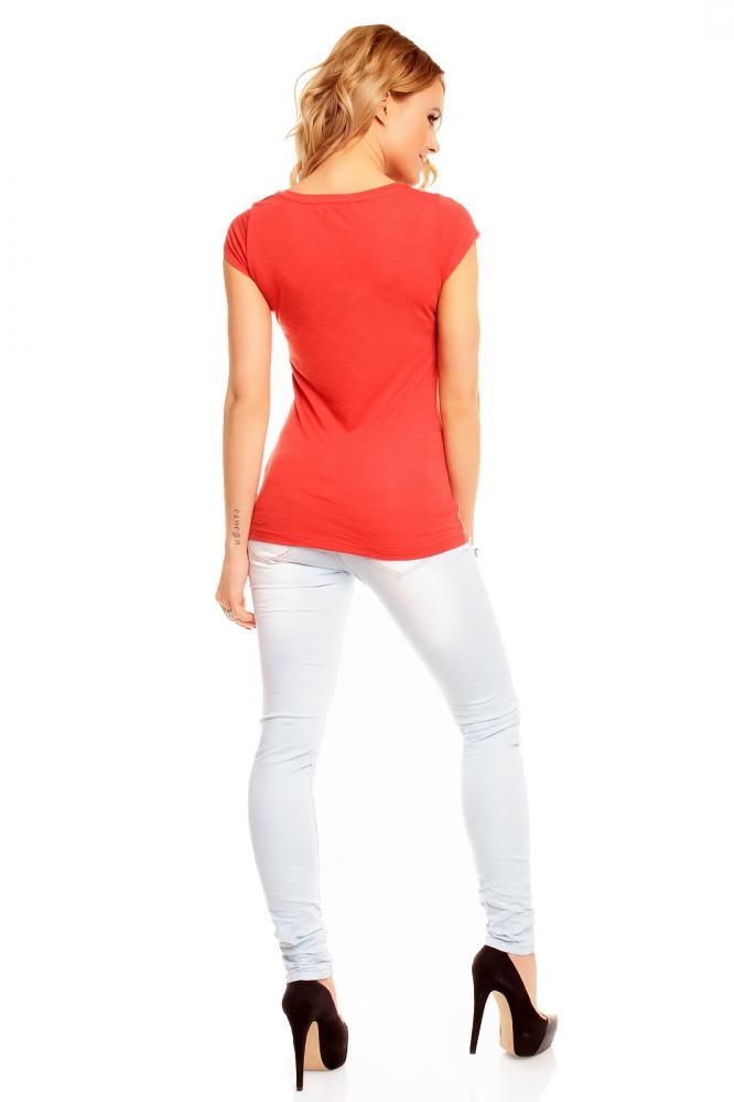 Dámske tehlovo červené tričko s potlačou veľkosť XS