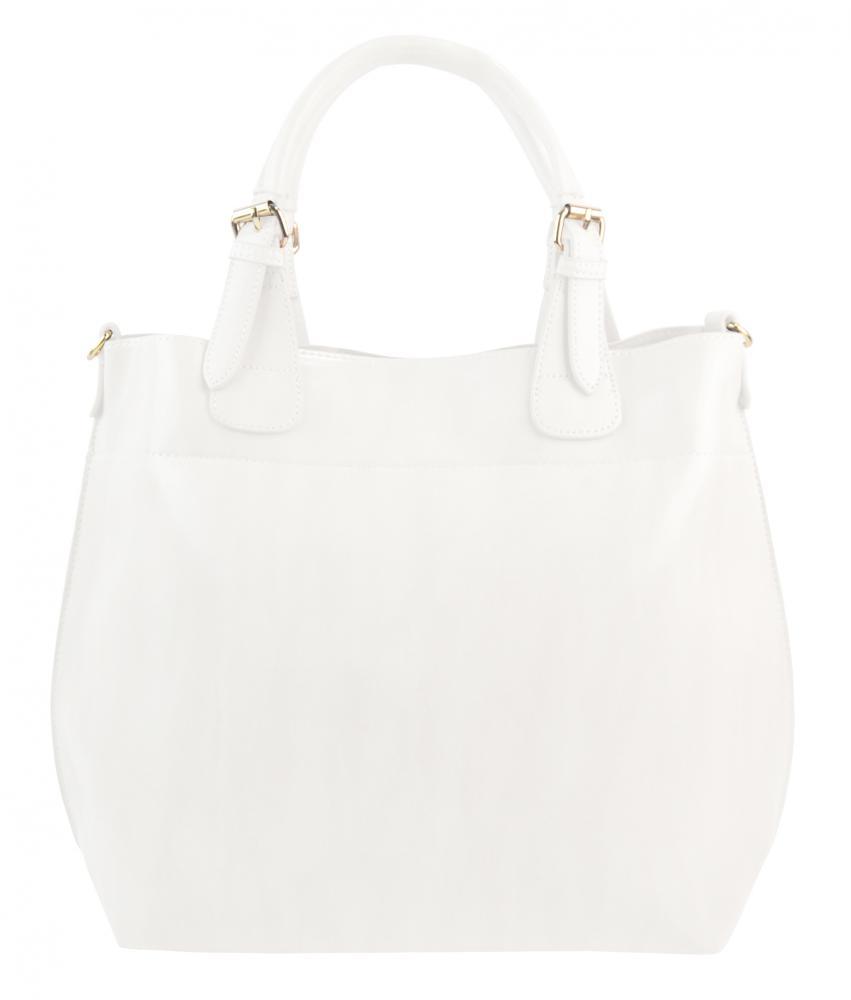 Velká bílá dámská shopper kabelka 3435-MM