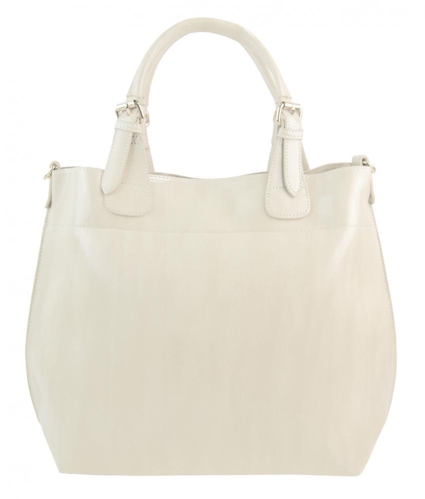 Veľká svetlá krémová dámska shopper kabelka 3435-MM