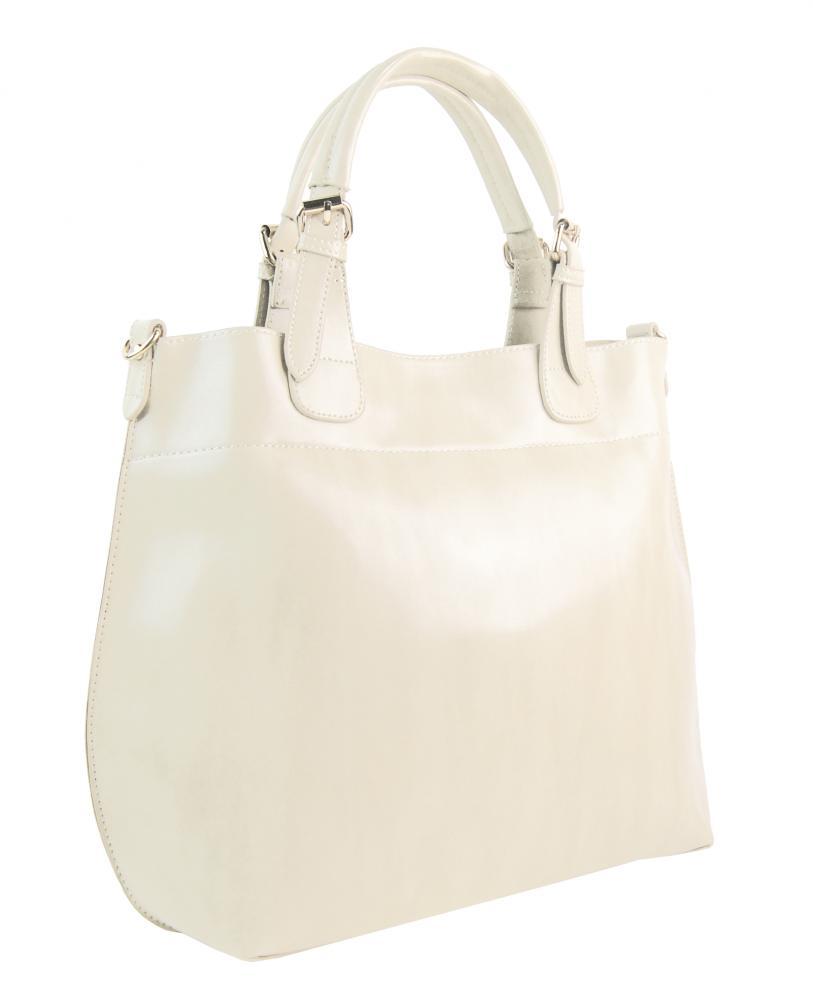 Velká světlá krémová dámská shopper kabelka 3435-MM