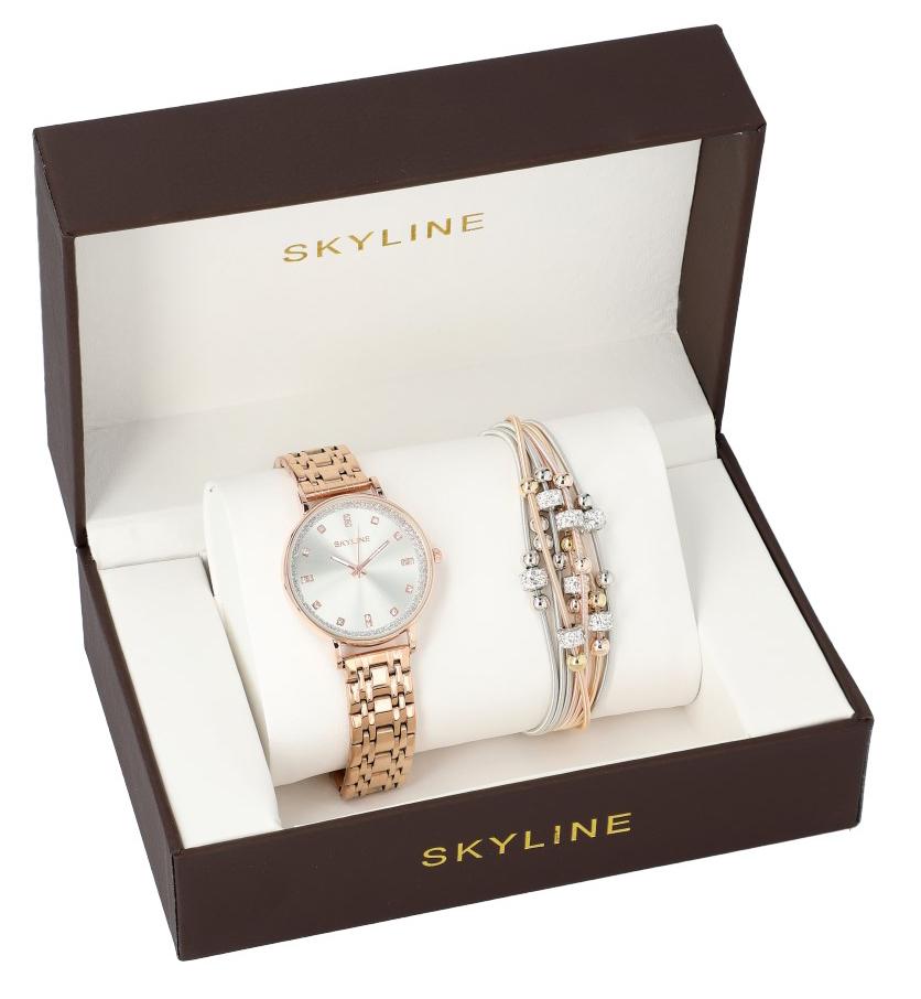 SKYLINE dámská dárková sada zlaté hodinky s náramkem 2950-14