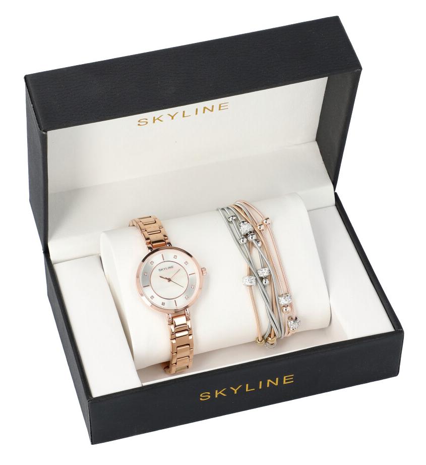 SKYLINE dámská dárková sada zlaté hodinky s náramkem 2950-15