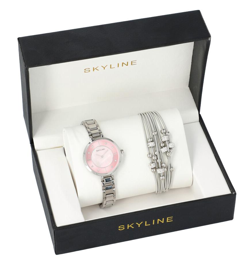 SKYLINE dámska darčeková sada strieborné hodinky s náramkom 2950-20