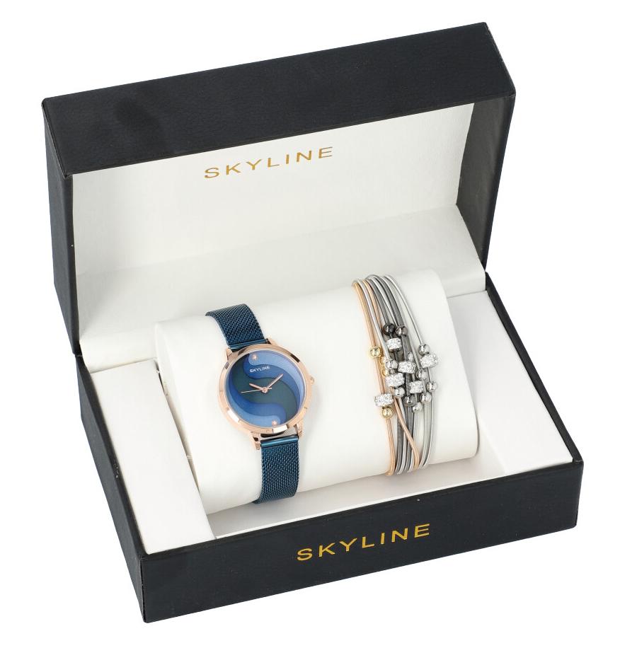 SKYLINE dámska darčeková sada modro-zlaté hodinky s náramkom 2950-25