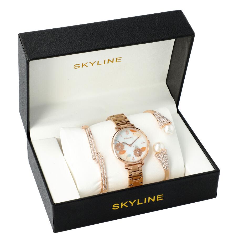 SKYLINE dámská dárková sada zlaté hodinky s náramky 1600