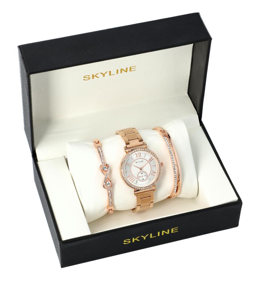 SKYLINE dámská dárková sada růžovo zlaté hodinky s náramky SM0005