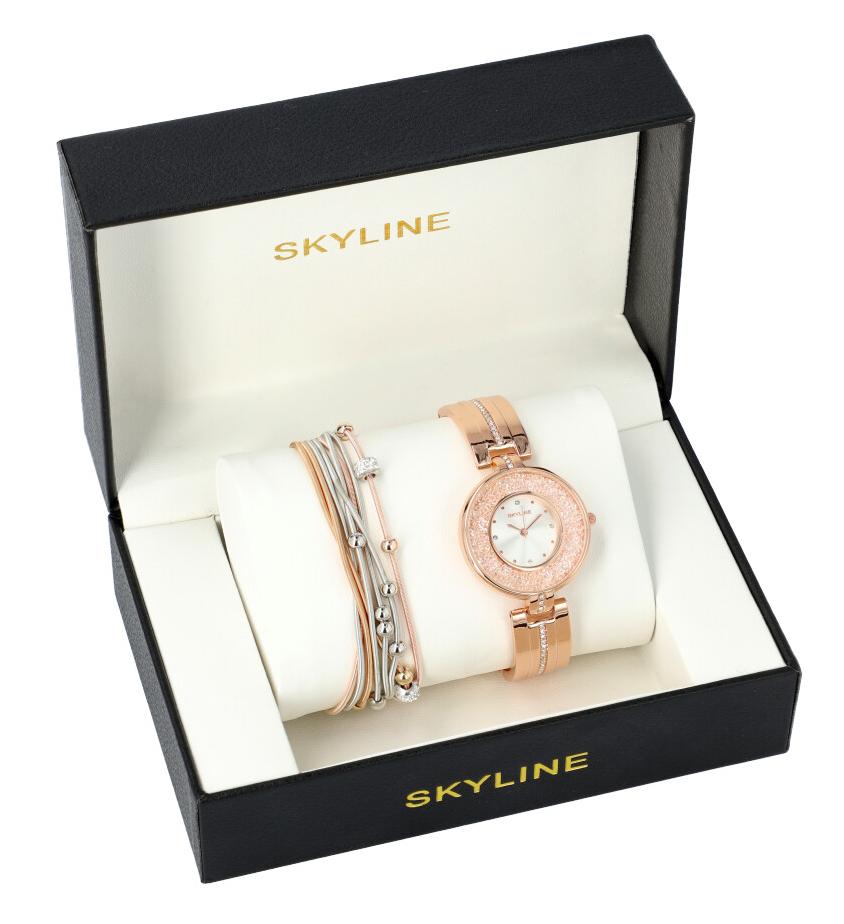 SKYLINE dámská dárková sada růžovo zlaté hodinky s náramkem SM0009